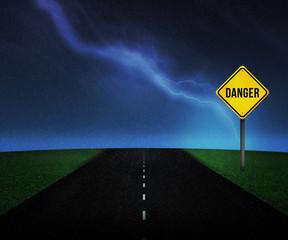 Danger Sign on the Road