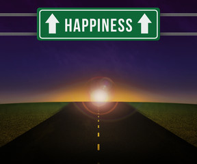 Happieness Sign on the Road