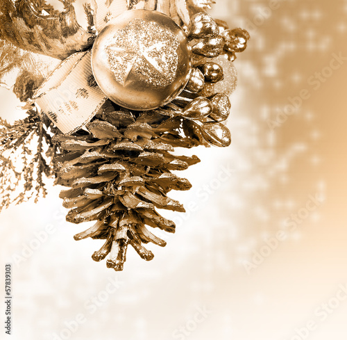 Christmas background with golden knob
