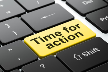 Timeline concept: Time for Action on keyboard background