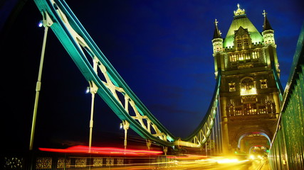 Rush hour in London, view to the Tower Bridge night