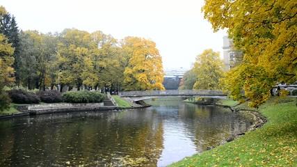 Autumnal park in Riga - capital of Latvia, Europe