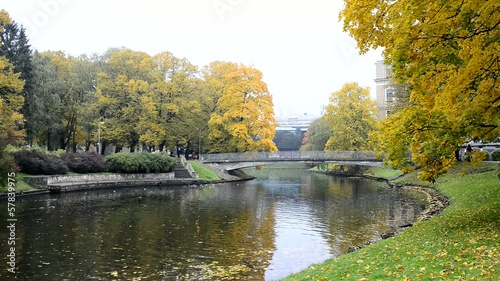 Autumnal park in Riga - capital of Latvia, Europe