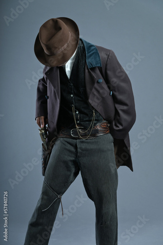 Retro Afro america western cowboy man with mustache. Ready to sh
