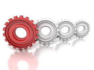group of metallic gears and one red concept leader