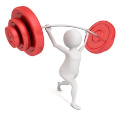 white 3d man lifting heavy red weights barbell