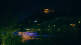Floating Restaurant in Graz illuminated in night, time lapse
