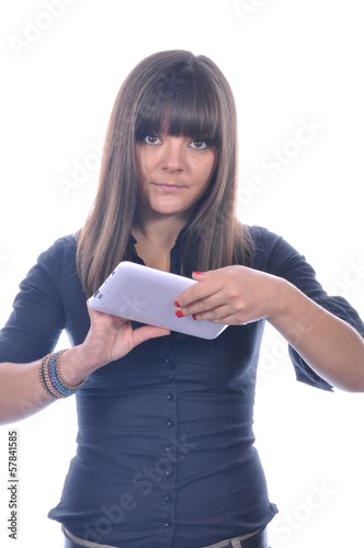 Cute girl typing a message. White background
