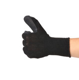 Thumbs up with a black rubber glove.