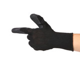 Black rubber glove on hand as gun.