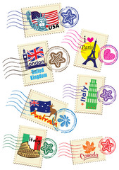 World Country Stamps Set