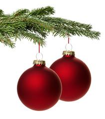 Rote Weihnachtskugel mit Zweig