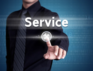 Business man pointing at Customer service icon