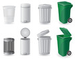 trash can and dustbin set icons vector illustration - 57843163
