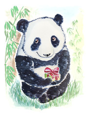 Panda bear with gift