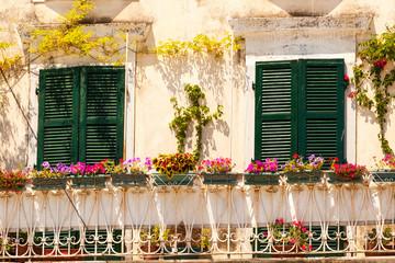 Specific old Corfu Town facades, Greece
