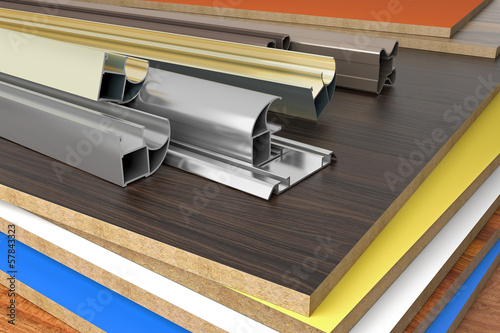Alu profiles on chipboard panels