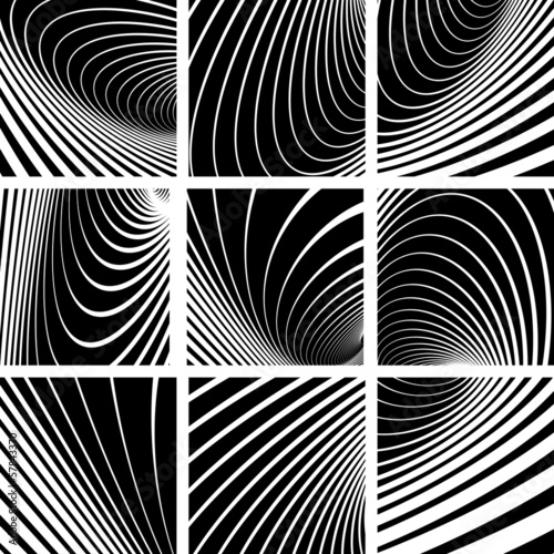 Illusion of whirl motion. Abstract backgrounds set.