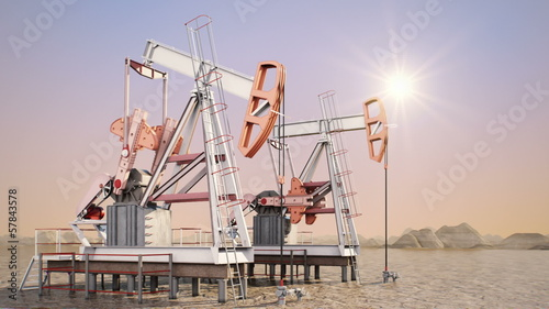 Oil pump (sunrise) - Digitally Generated Image