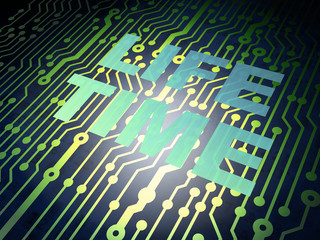 Time concept: circuit board with Life Time