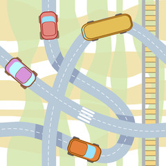 vector seamless pattern with cars.