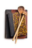 recipe books with wooden kitchenware