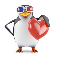 Penguin watches a romantic movie in 3d