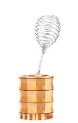 Whisk in wooden jar