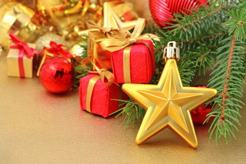 Gold star and Christmas decorations