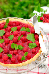 Fresh Raspberry Jelly Tart, copy space for your text, selective