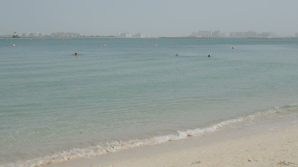 Beach of luxury hotel with a view on Palm Jumeirah