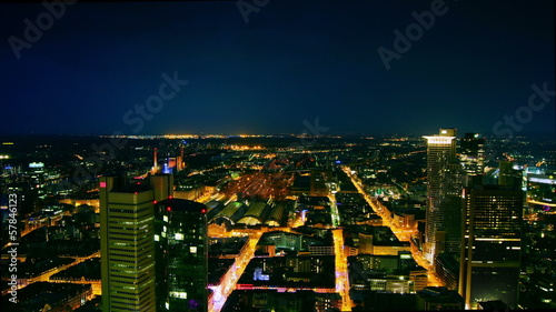 Aerial in night with Frankfurt am main,time lapse