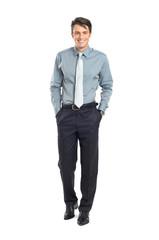 Happy Successful Businessman Walking