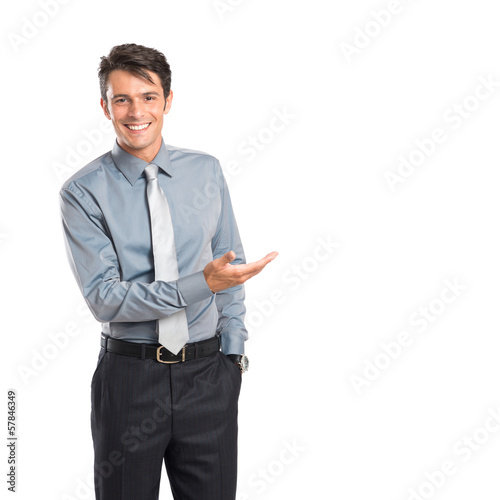 Happy Businessman Presenting