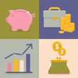 Vector finance and savings icons in flat style