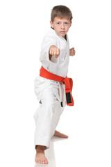 Confident boy in kimono in fighting stance