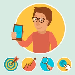 Vector illustration in flat style - manager