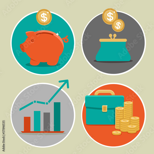 Vector money and business icons in flat style