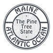 Grunge rubber stamp with name of Maine, Atlantic Ocean