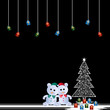 Two teddy bears and christmas tree