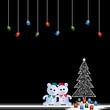 Two teddy bears and christmas tree