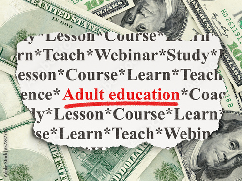 Education concept: Adult Education on Money background