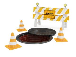 Street Manhole Under Construction