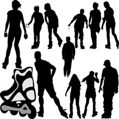 rollerskating silhouettes 1 - vector