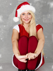 Women as santa waiting for Christmas