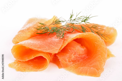 smoked salmon isolated
