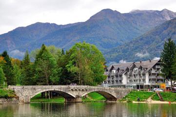 Old bridge on Bohinj lake