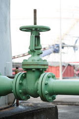 old gate valve open industrial plant