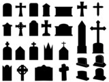 Gravestones and crosses silhouettes illustration collection