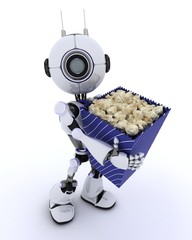 Robot with popcorn